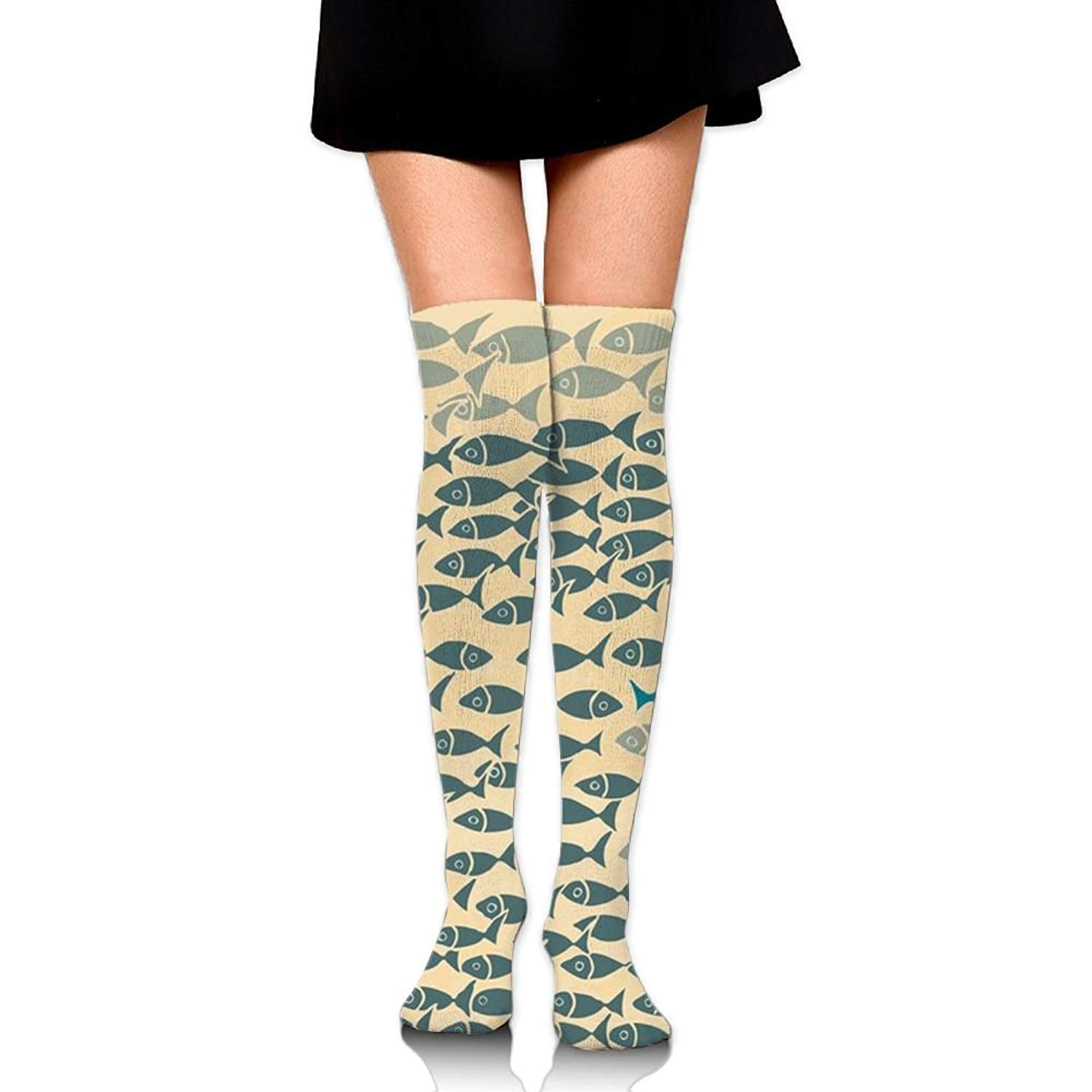 Zaqxsw Fish Women Retro Thigh High Socks Long Socks For Girls
