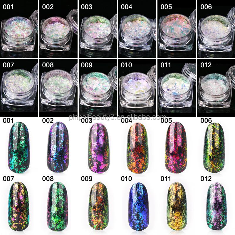 12 colors nail polish supplies chrome glitter chameleon nail dipping ...