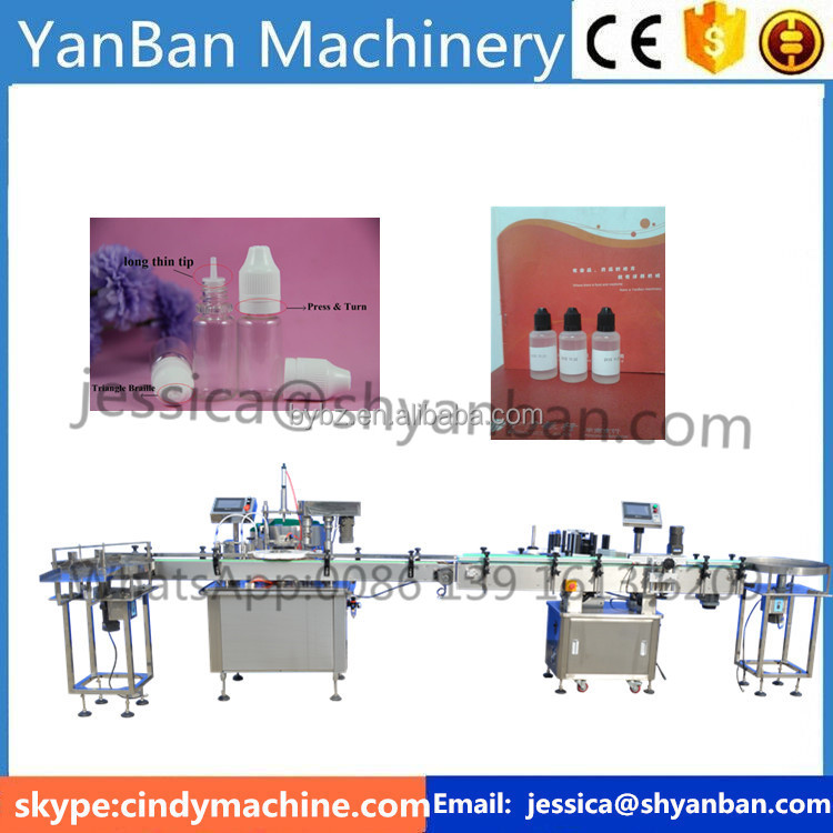 Shanghai Factory High quality Automatic 2-100ml glass bottle e-liquid/ejuice dropper bottle filling production line
