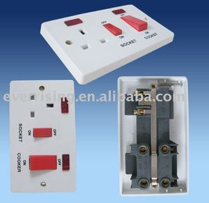 45A DP cooker switch +neon & 13A UK switched socket +neon