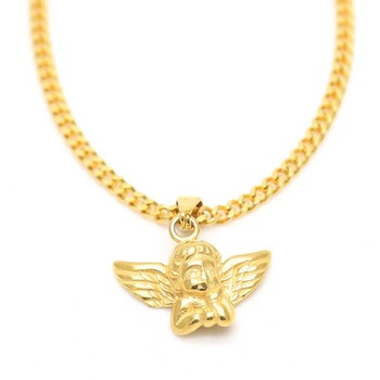 Personalized little angel Pendant Necklace Men With stainless steel Chain Hip Hop Gold Color Charms Chain Jewelry drop shipping