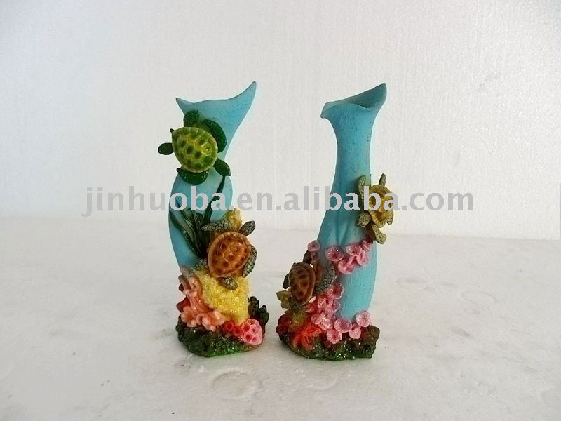 Resin small sea turtle flower vase
