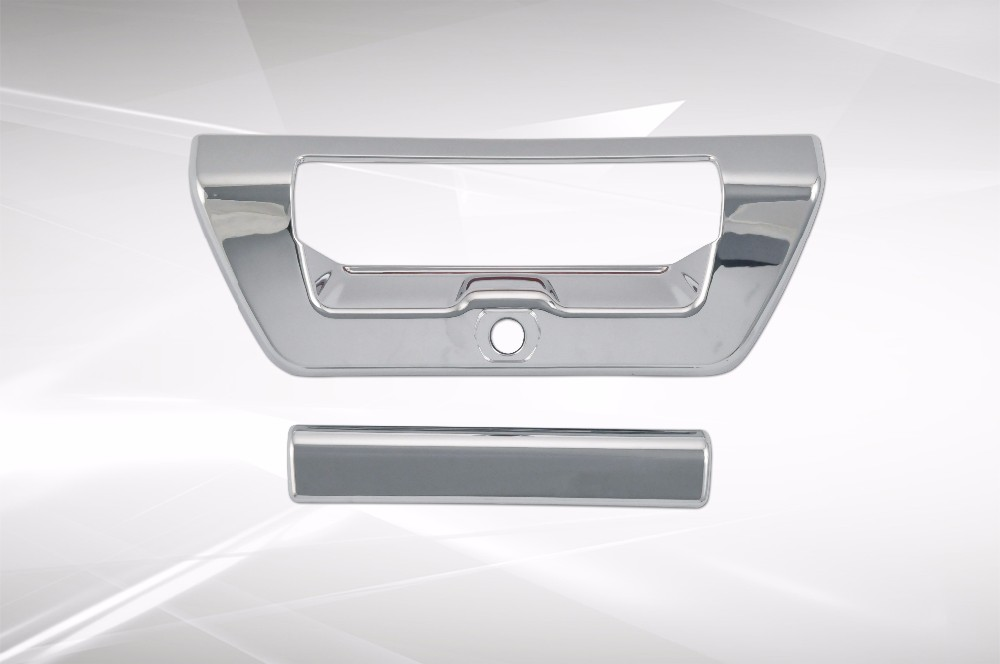 ABS Plastic Chrome Tailgate Trunk Door Handle Cover For Ford 2016 F150 F-150 Limited No Key Hole With Camera Hole