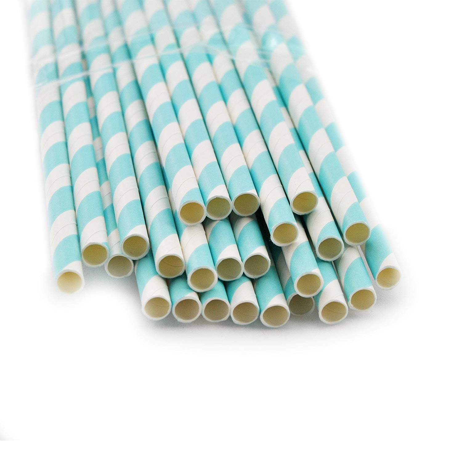 Denshine 25 X Striped Paper Drinking Straws-rainbow Mixed for Party Table Decorations- Pastel Blue Stripe