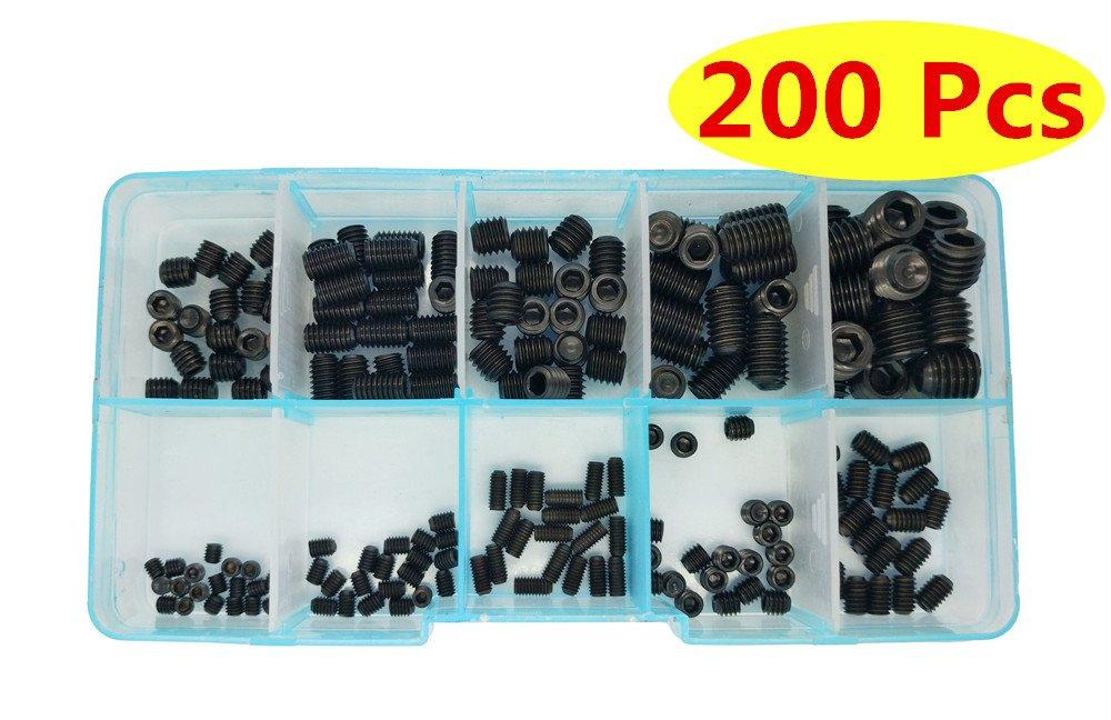 Guard4U 200Pcs 12.9-Class Black Alloy Steel Allen Head Socket Hex Grub Screw Set Assortment Kit, For M3 M4 M5 M6 M8 (10 Sizes)