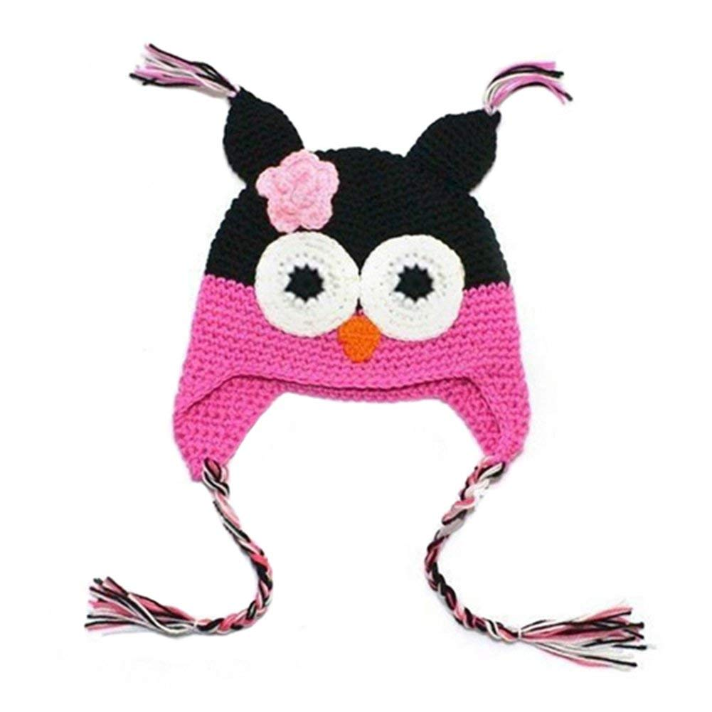 Get Quotations · Infant Baby Girl Toddler Handmade Knitted Crochet Hat Owl  Cap with Ear Flap ee2f90170f16