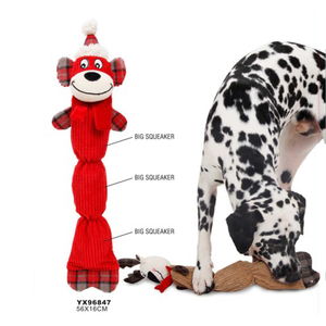 Soft pet products squeaky christmas plush chew dog toy