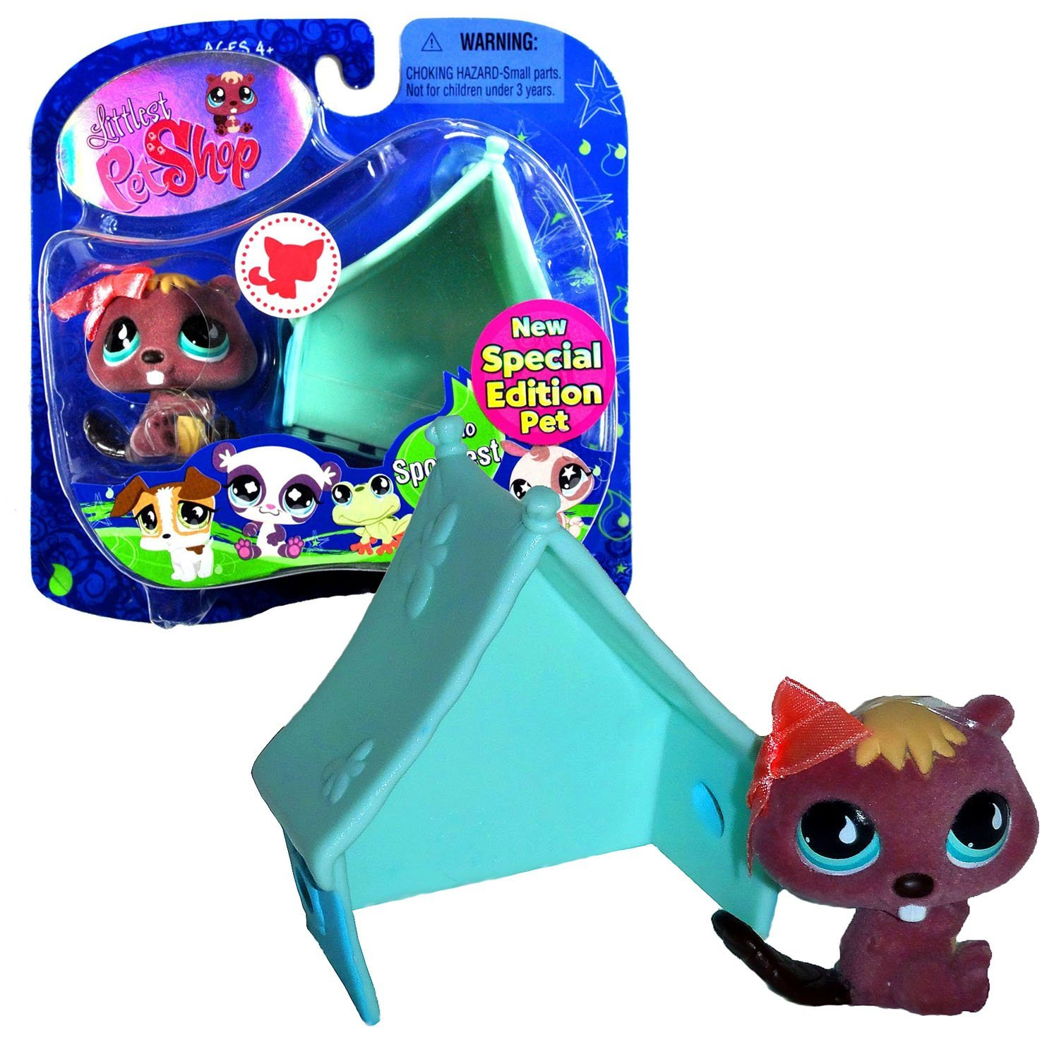 """Hasbro Year 2008 Littlest Pet Shop """"Special Edition Pet - Sportiest"""" Series Collectible Bobble Head Pet Figure Set #810 - Beaver with Pink Bow and Blue Tent"""