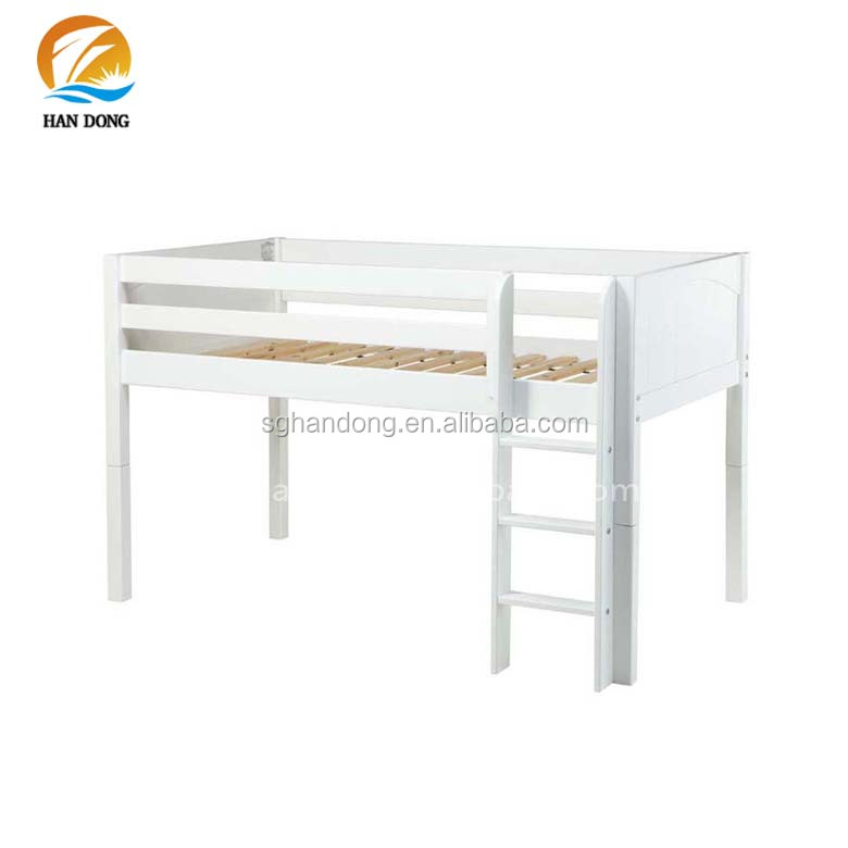 White Low Kids Twin Bunk Beds Top Bunk Only With Built In Ladder