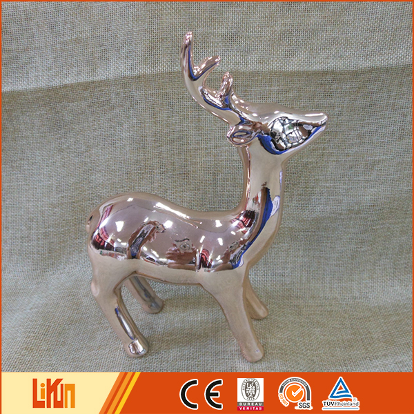 High quality ceramic reindeer decoration copper handmade ceramic christmas ornaments