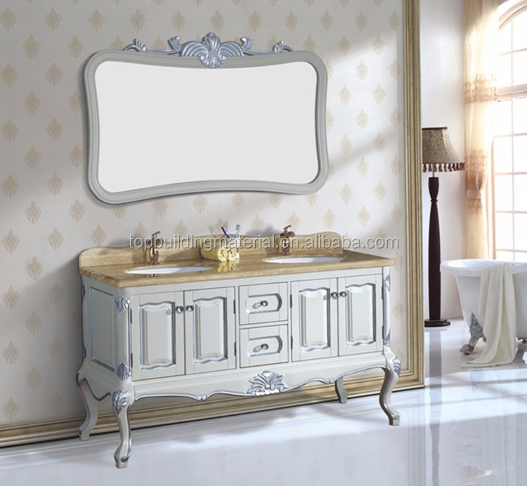 Custom 72 inch White double sink bathroom vanity with carrara marble top