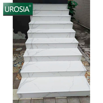 300x1200 20mm anti slip White carrara marble stairs slip-resistant full glazed non slip stair tiles