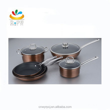 2018 new resistant metal forged aluminum non-stick cookware set with copper-colored metal painting