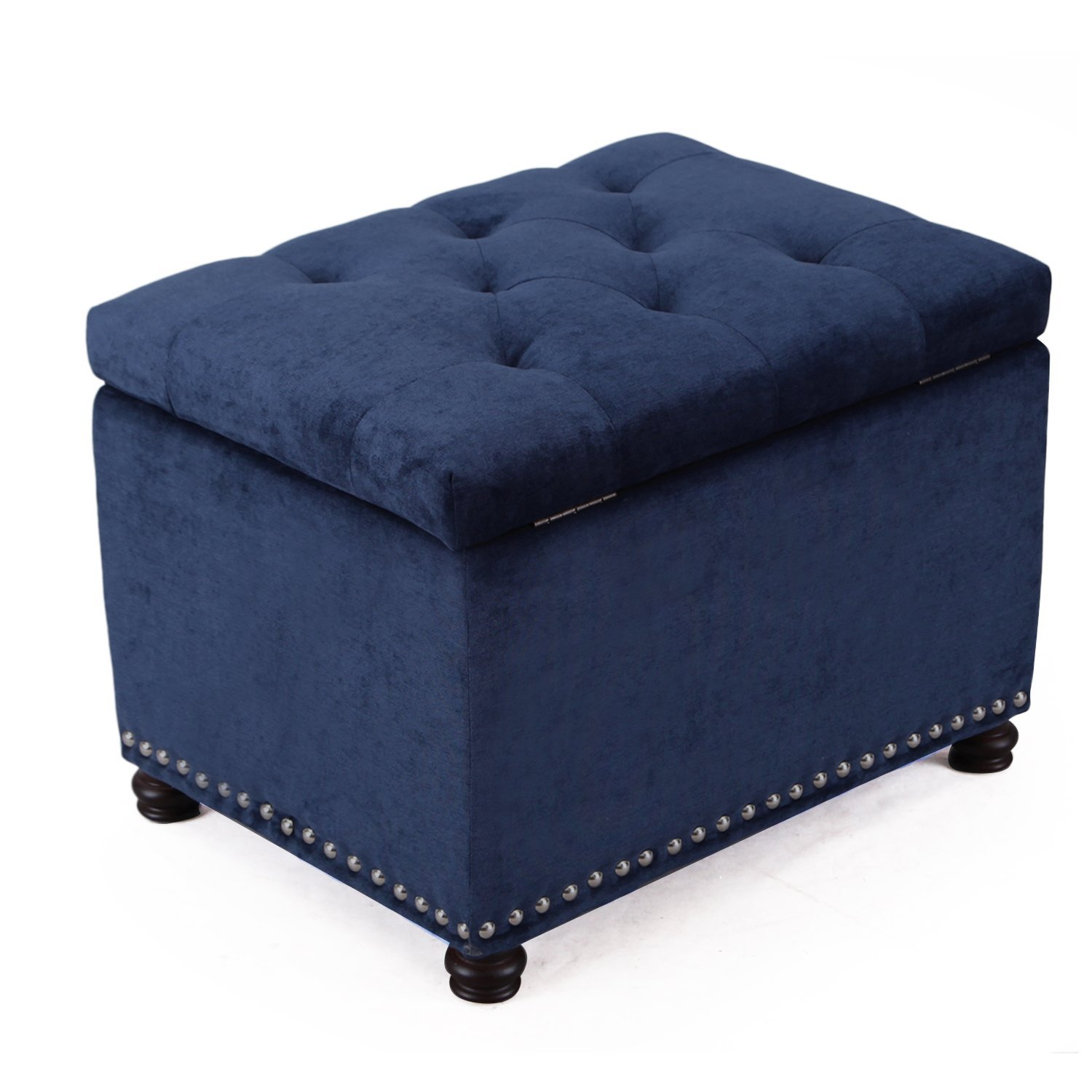 Adeco High End Dark Black Brown Classy Bonded Leather Tufted Accents Rectangular Storage Bench Ottoman Footstool