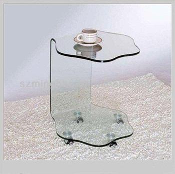 C Shape Acrylic Tea Table/side Table/ Coffee Table With Wheel