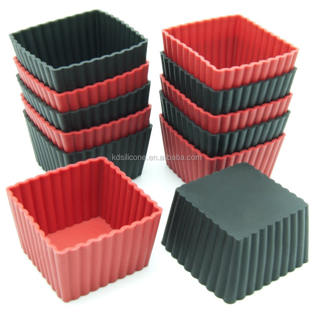 Custom Kids 12-pack Mini Square Silicone Reusable Baking Cup