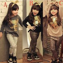 Retail 2016 Girls Clothing Sets Baby Kids Clothes Children Clothing Full Sleeve T Shirt Leopard Legging Girl children's clothes
