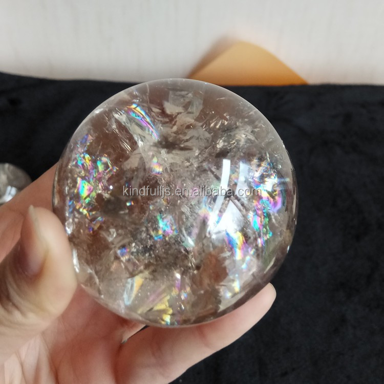 Natural crystal smoky quartz sphere