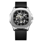 Leather Watch Modern Custom Leather Skeleton Mechanical Automatic Luxury Wrist Mens Watch In Wristwatch