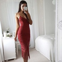 Custom Women Knit Lace Creates Spaghetti Straps Sleeveless Midi Sexy Cocktail Dresses For Party
