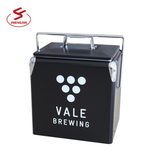 Top quality portable small metal cooler ice picnic cooler box