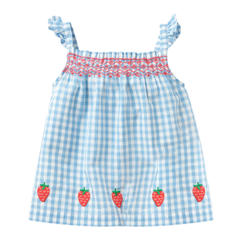 PHB 51315 blue plaid design fashion girls 2020 summer new baby frock styles dress