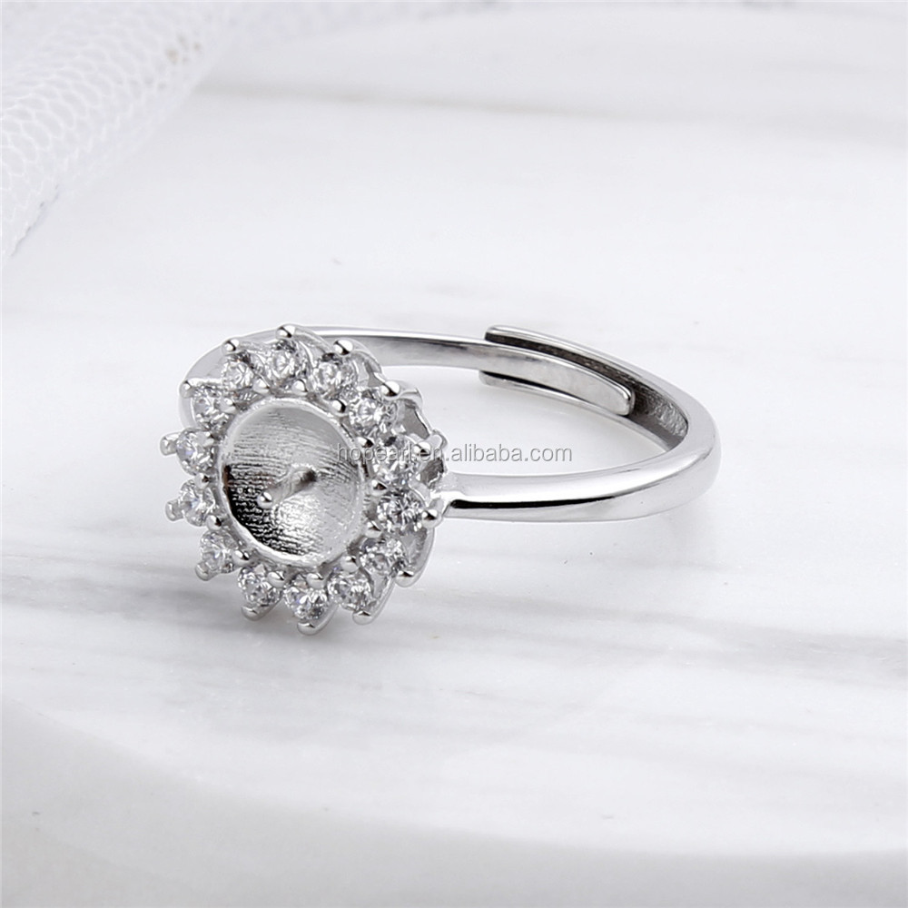 SSR150 Pearl Settings Ring Mount Findings 925 Sterling Silver Cubic Zirconia Surrounded Ring Blank Base
