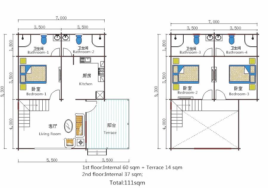Popular style 2-storey luxury prefabricated wooden leisure villa houses