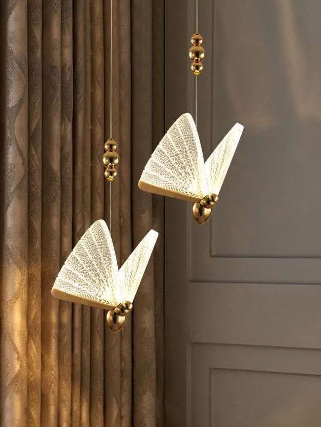 Modern light luxury lamps and lanterns acrylic butterfly-shaped lighting bedside stairwell window chandelier pendant lamp
