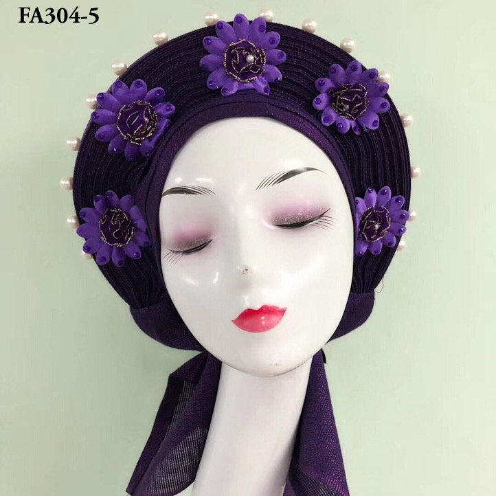 Inmyshop scarf wholesale aso oke headtie for woman sego gele african sego headtie nigeria style auto gele with beads