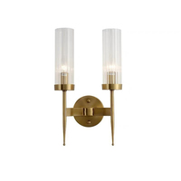 China wholesale luxury hotel bedside lamp E27 led bulb bronze night lamp American simple clear glass Modern wall lamp