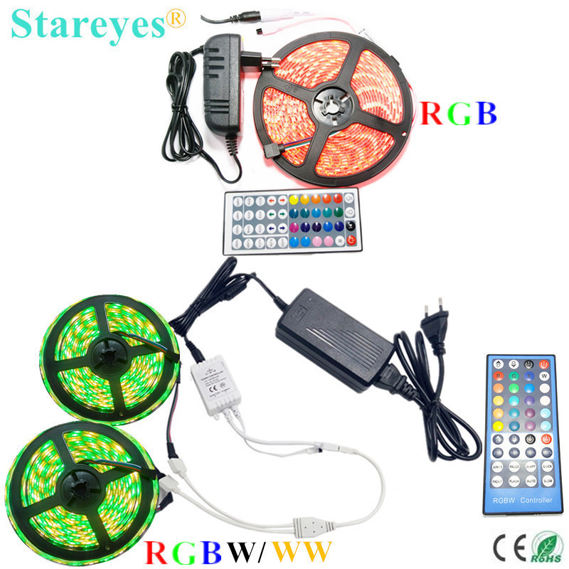 Free shipping 10 Sets SMD 5050 5m 10m RGB RGBW RGBWW 60LED/m LED Strip light IP20 IP65 Waterproof Ribbon+Remote+Power Adapter
