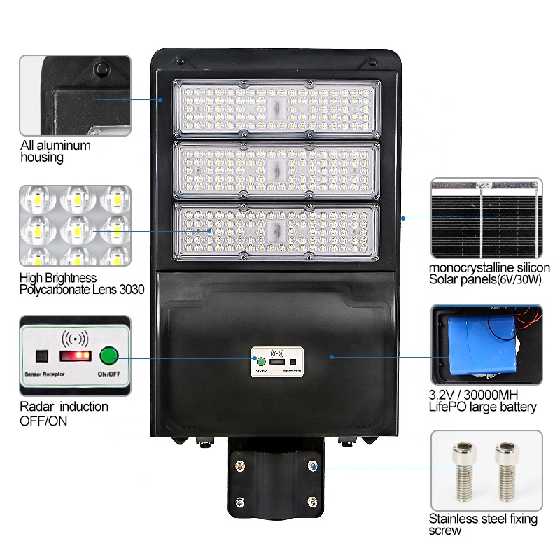 Boyio manufacturers  200w solar panel  led street lamp streetlight lights
