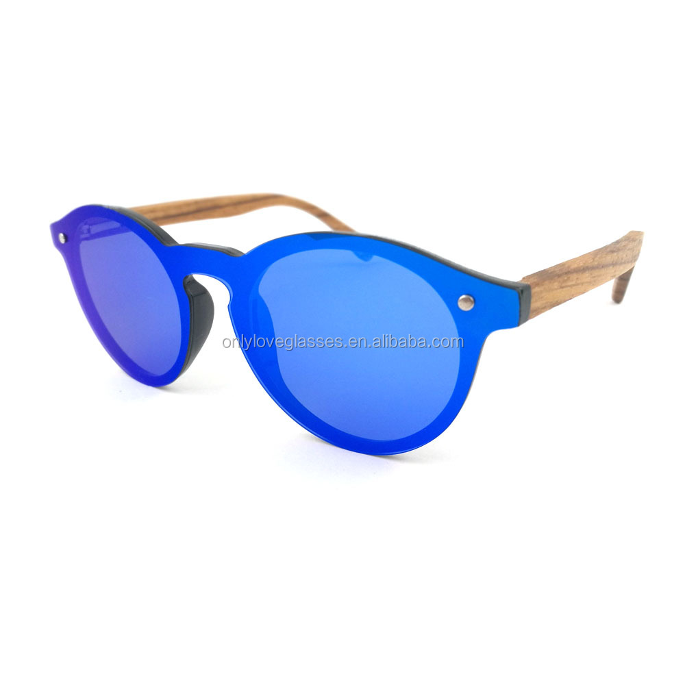 Custom cheap one piece lens rimless round style mirror polarized lens wood sunglasses