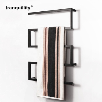 Fashion Style Bathroom Stainless Steel Matt Black Towel Rail Towel Warmer Electric Towel Rack Drying Square Tube