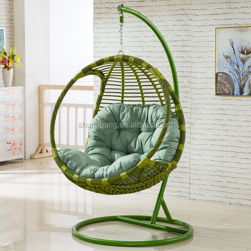 Outdoor Or Indoor Round Pe Rattan Swing Chair Metal Frame Single Hanging Chair With Cushion View Swing Chair Oem Product Details From Foshan Shunhuang Furniture Co Ltd On Alibaba Com