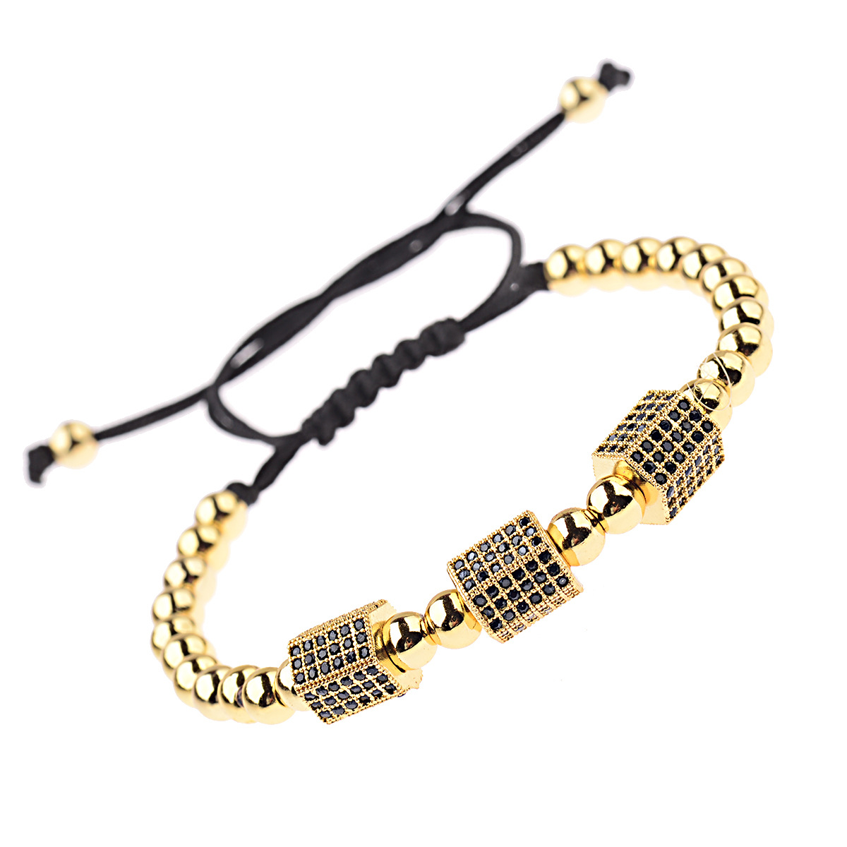 Handmade Micro Pave Cubic Zirconia CZ Column Charms Braided Bracelet Gold Plated Copper Beads Bracelet With Square Accessories