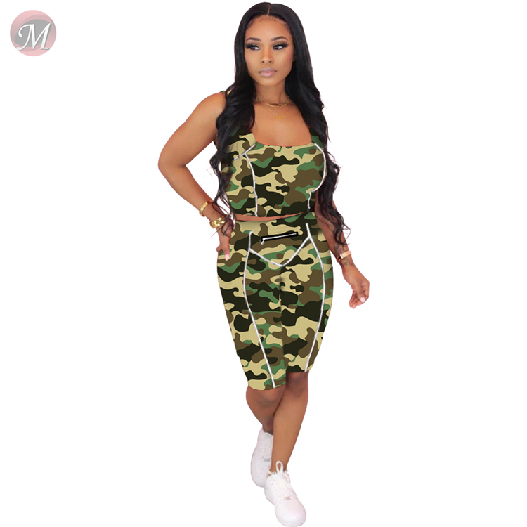 0060610 Fashion new sexy camouflage sportswear 2020 Summer Sexy 2 Pcs TrackSuit Outfits Two Piece Set Women Clothing For Women