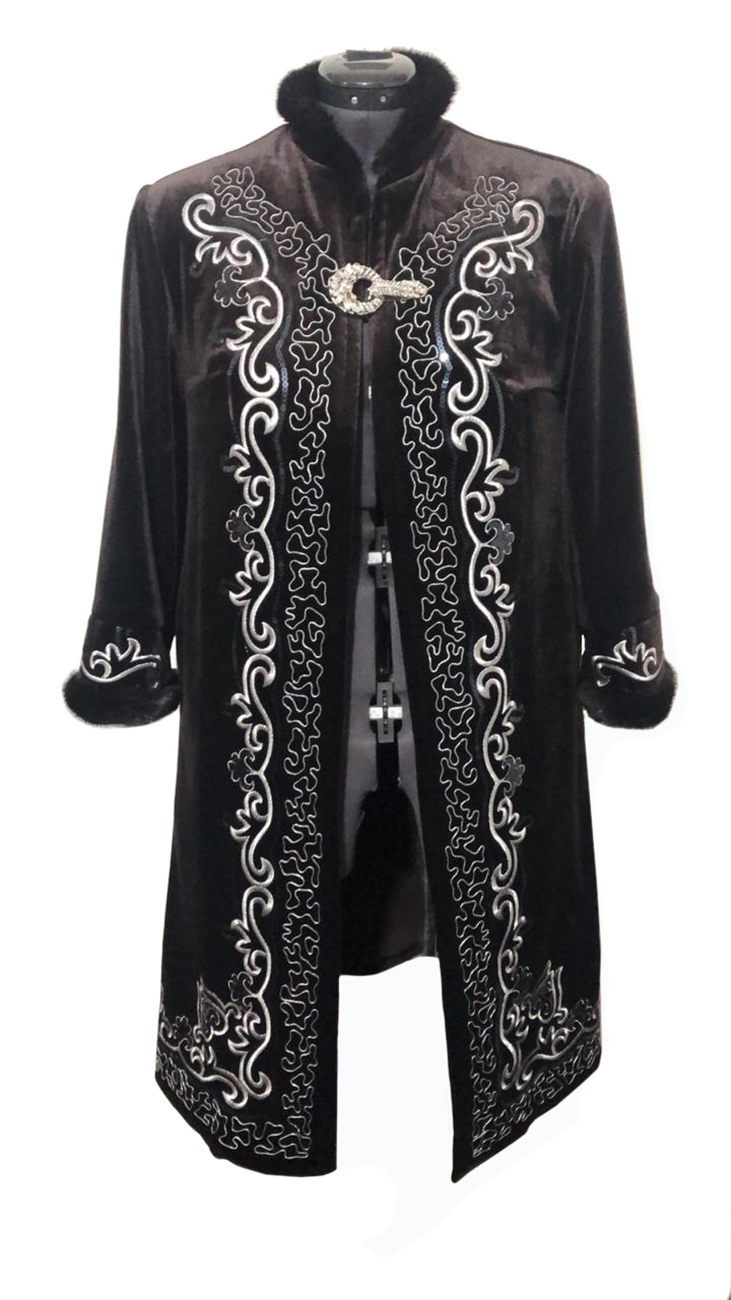 Kazakhstan Garment National Overcoat Clothes Long Sleeve Female Beshmet