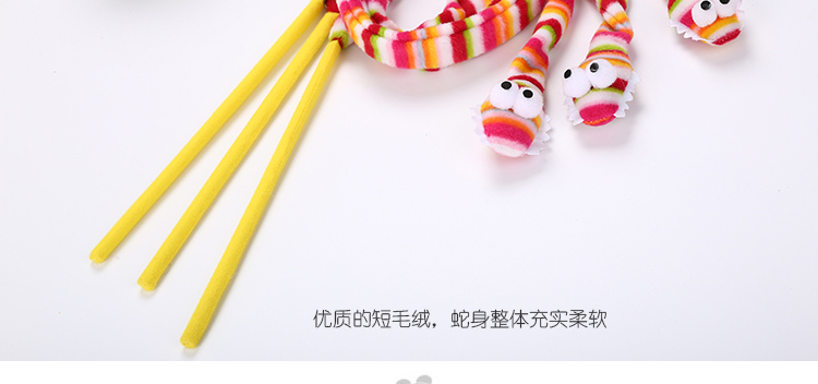 wholesale rainbow color snake shape  cat teasing toy  rattle cat toy stick