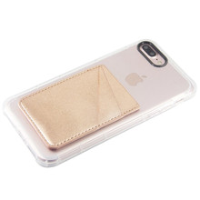 Twee Pack Telefoon <span class=keywords><strong>Kaarthouder</strong></span> <span class=keywords><strong>PU</strong></span> Leather Rose Gold Wallet Pocket Credit Card ID Case Pouch 3M Sticker op Telefoon