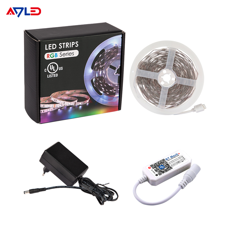 Manufacturer RoHS Flexible LED Tape Stripe 12 Volt 5050 Lamp Multi Colour Bluetooth RGB LED Strip Light 5M For Shelf