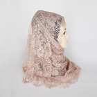 New fashion flower lace scarf good quality muslim women lace hijab with pearl