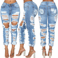 Fashion Women Front Back Ripped Skinny Trousers Jeans Denim Distressed Pants Q112061