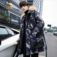 Canada print casual winter parka overcoat long mens down jacket with fur