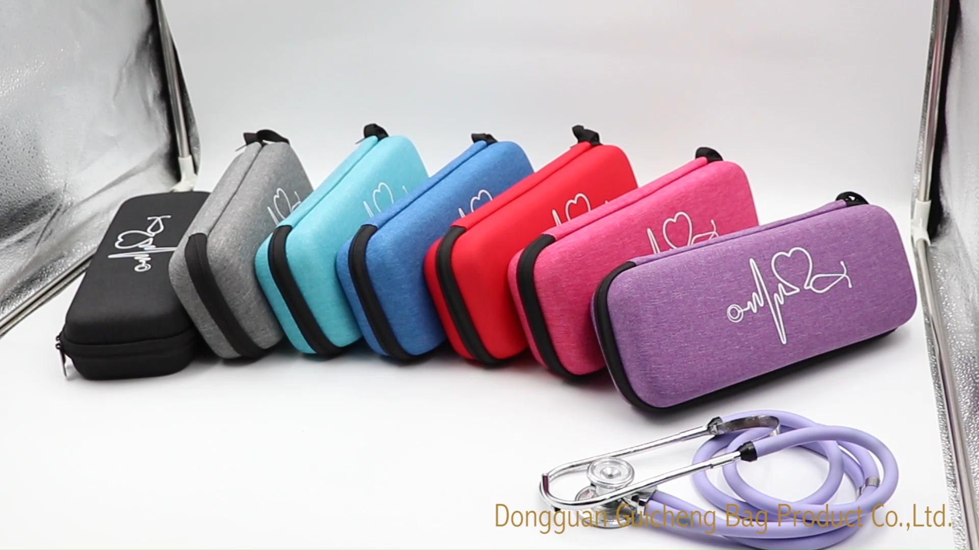 กระเป๋าใส่เครื่องฟังเสียงกึ่งแข็ง,ใช้ได้กับเครื่องฟังเสียงLittmann 3Mและอุปกรณ์เสริมอื่นๆ-มีสีฟ้า,สีเทา,สีม่วงและสีชมพู