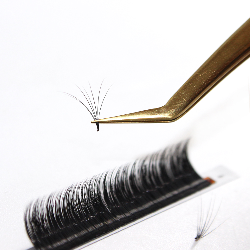 Wholesale easy fan rapid blooming eyelash extension silk fast fanning lashes, Natural black