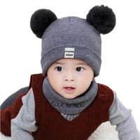 Custom Unique Funny Lovely Warm Winter Unisex Child Kids Baby Knit Pattern Beanie Hats for babies With Two Double Pom Pom Pompom