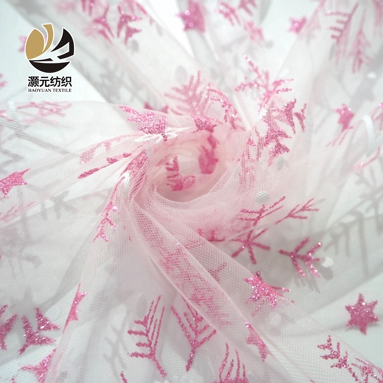 pink snowflake glitter printing shaoxing polyester tulle making fabric for dress