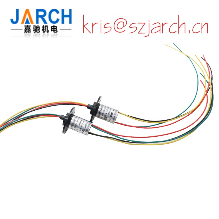 Mini Capsule Slip ring with flange rotating OD 22mm 3 circuits 10A and 2A signal current 6 wires